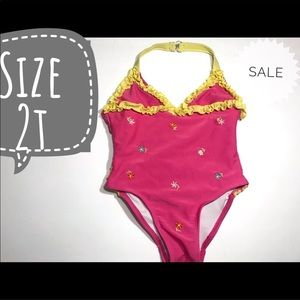 2t embroidered ruffle bathing suit